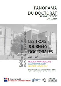 Panorama des doctorants de l'ENSAG 2016-2017